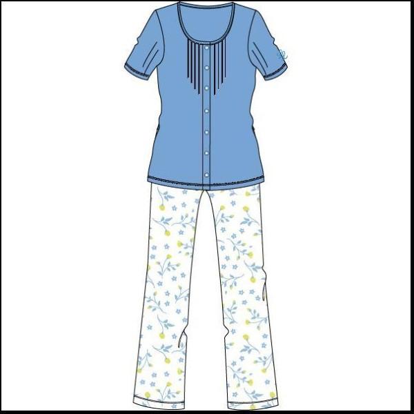 Damespyjama, doorknoop,