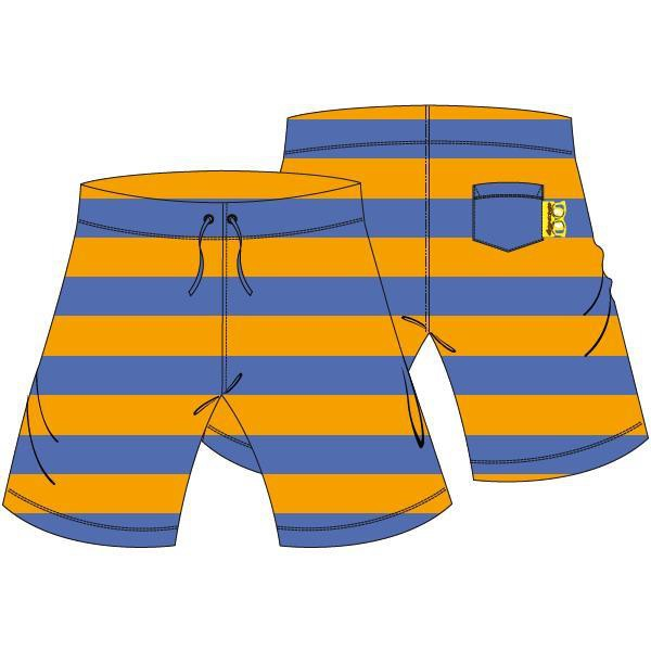 Bermuda, uniseks,Terry blue-orange stripe