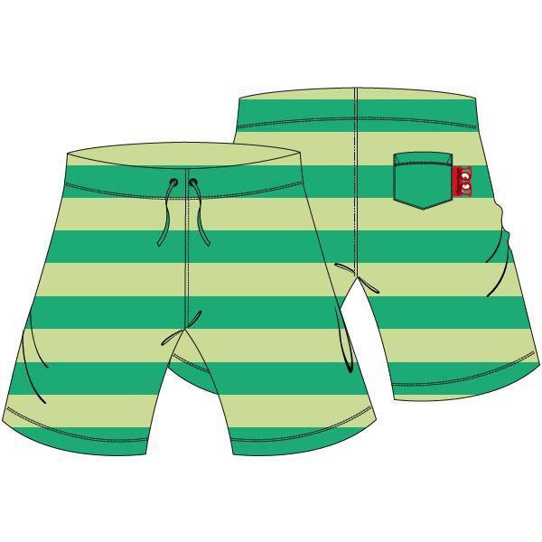 Bermuda, uniseks,Terry green stripe