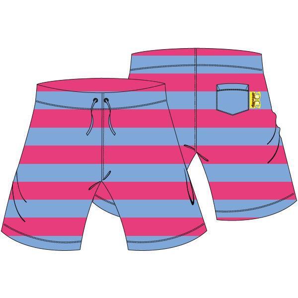 Bermuda, uniseks,Terry pink-blue stripe