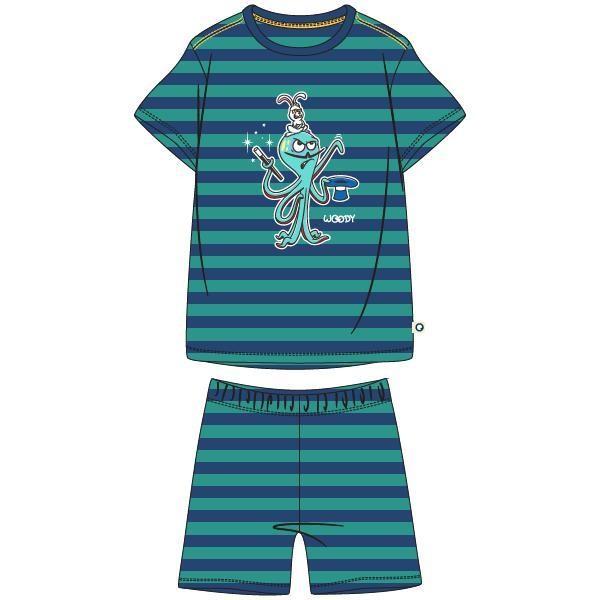 Jongens-Heren pyjama, blauw-groen gestreept
