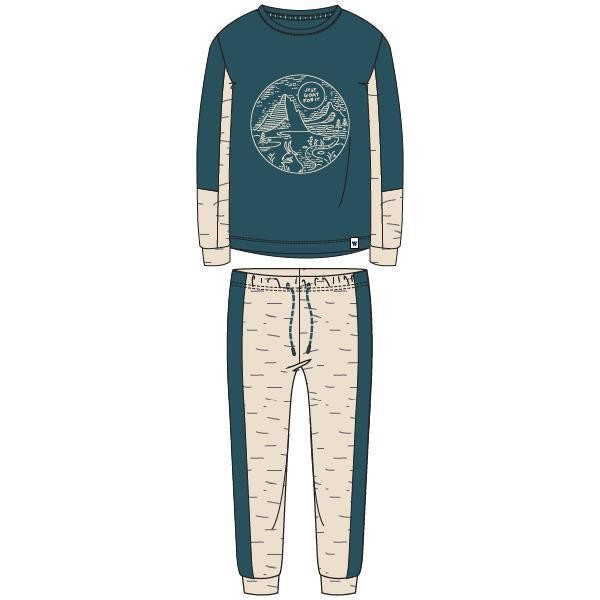 Jongens-Heren pyjama, petrolgroen