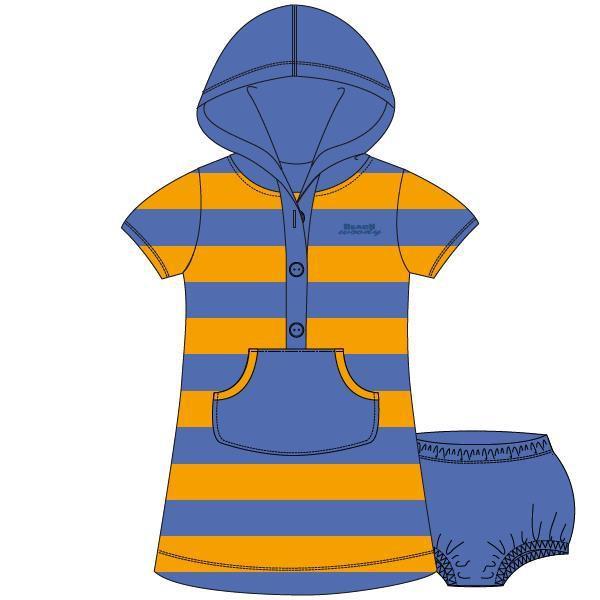 Kleedje met kap,Terry blue-orange stripe