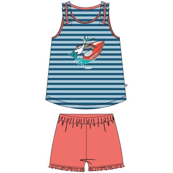 Meisjes-Dames pyjama, blauw-rood gestreept