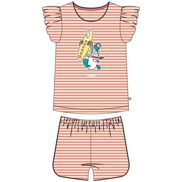 Meisjes-Dames pyjama, koraalroze-gebroken wit  gestreept