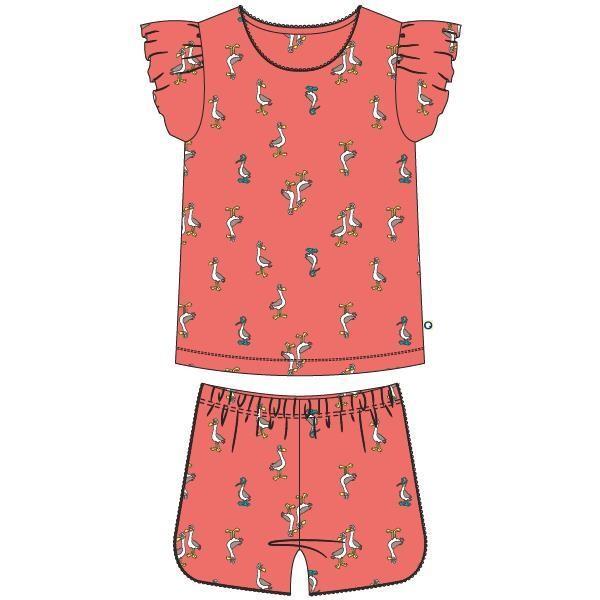 Meisjes-Dames pyjama, koraalroze meeuwen