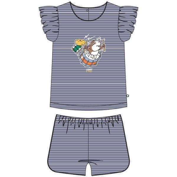 Meisjes pyjama, blauw-gebroken wit gestreept