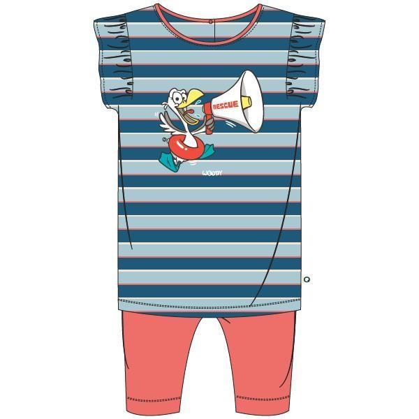 Meisjes pyjama, blauw-rood gestreept