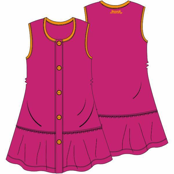 Mouwloos kleedje met pamperbroekje, fushia red
