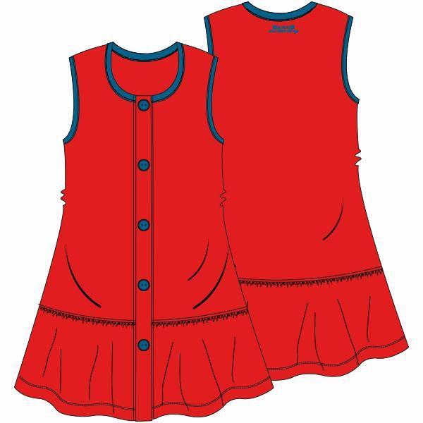 Mouwloos kleedje met pamperbroekje, tomato red