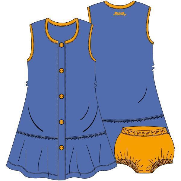 Mouwloos kleedje met pamperbroekje,Dazzling blue
