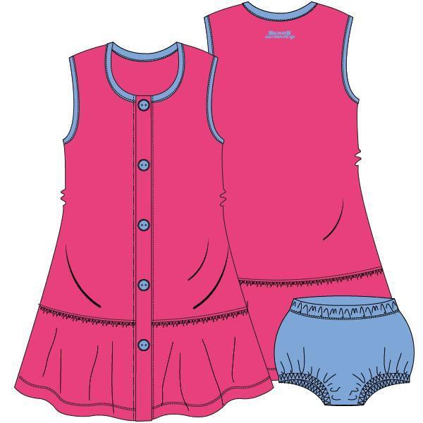 Mouwloos kleedje met pamperbroekje,Fuchsia purple