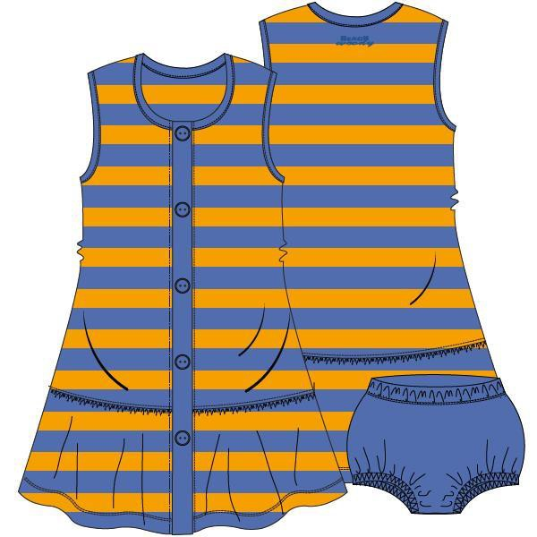 Mouwloos kleedje met pamperbroekje,Terry blue-oran