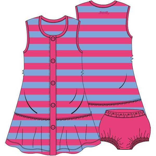 Mouwloos kleedje met pamperbroekje,Terry pink-blue