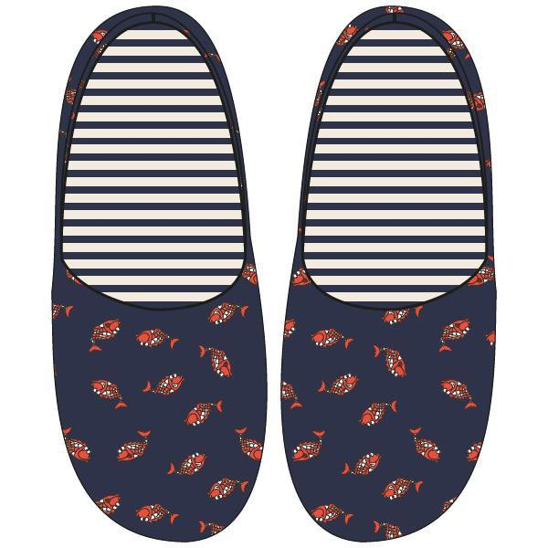 Pantoffels, koi donkerblauw all-over print