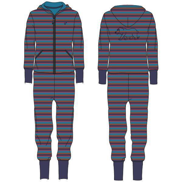 aeb0c959867 Woody Unisex onesie, blauw-rood gestreept | Nuit de Folie
