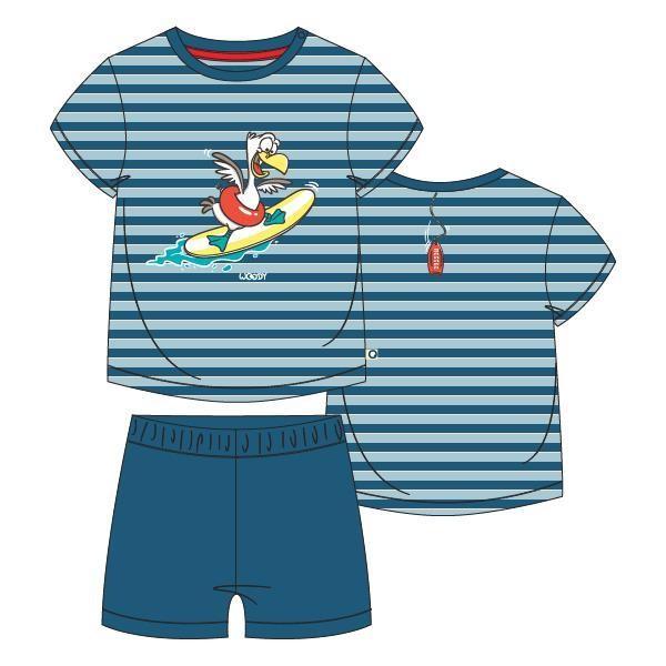 Unisex pyjama, blauw-rood gestreept