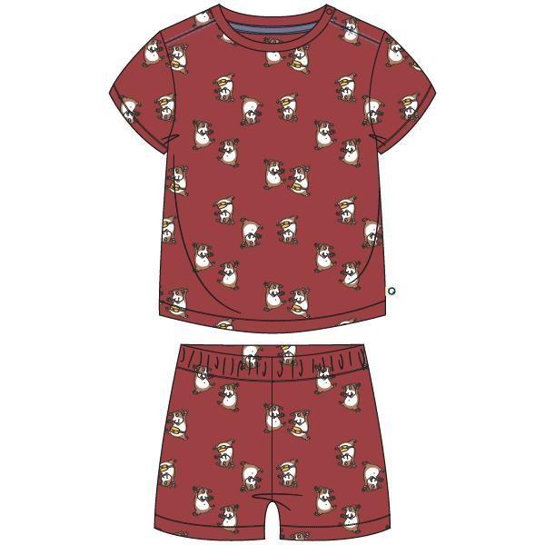 Unisex pyjama, donkerrood cavia