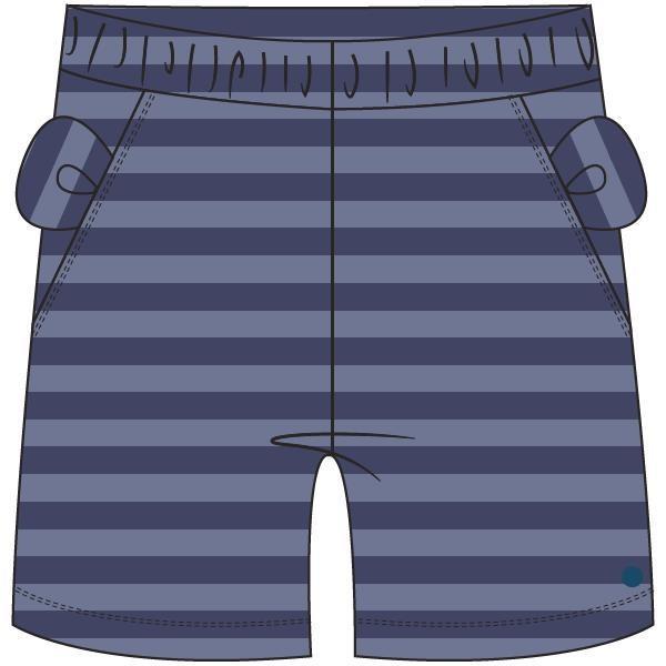 Unisex short, blauw gestreept